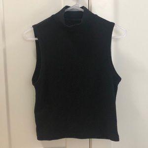 turtleneck sleeveless top black ribbed sleeveless